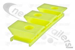4103006 Cargo Floor Plastic Bearing Block Yellow, 3/97 Height 32mm Lipped
