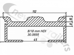 30.0695  Plank Slat 8-18/112mm HDI single seal